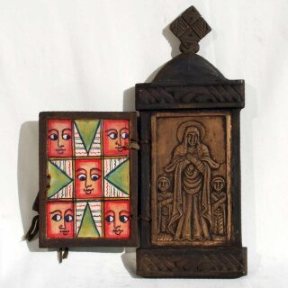 Ethiopian Wood and Marble Icon